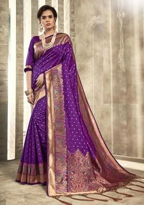 Innovative Purple Color Party Wear Designer Indian Saree