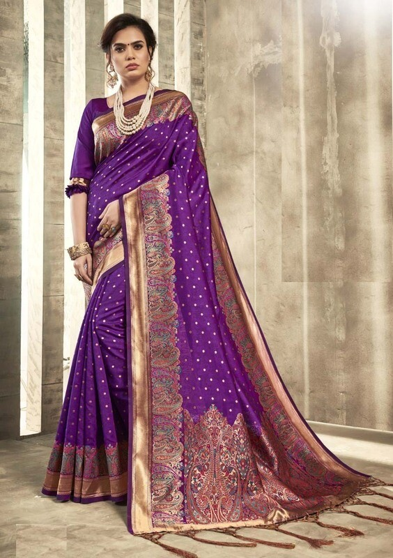 Innovative Purple Color Party Wear Designer Indian Saree