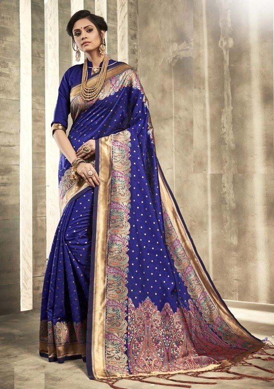Exotic Dark Blue Color Jacquard Work Indian Saree