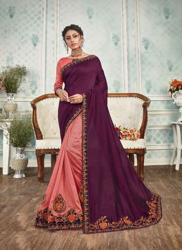 Amazing Purple And Pink Color Party Wear Indian Saree