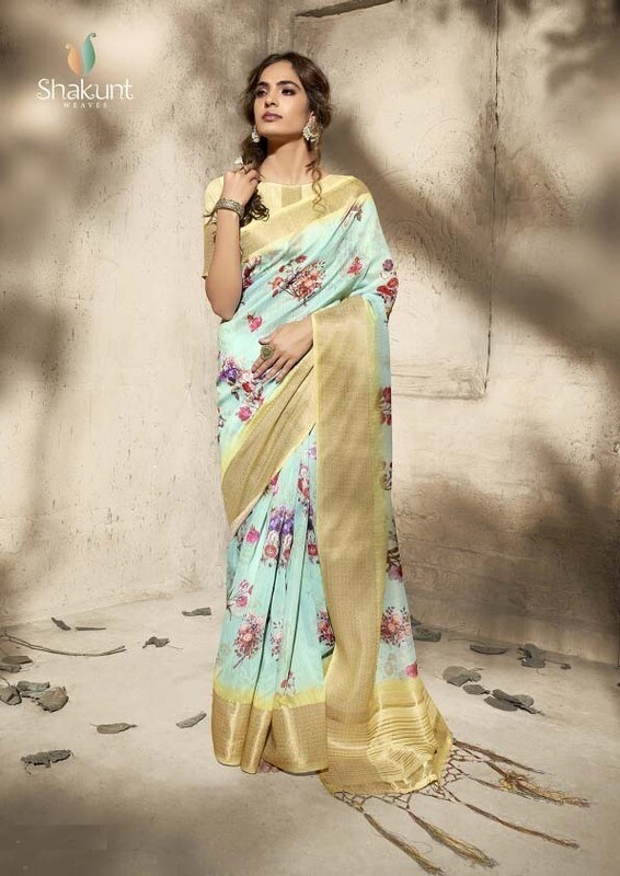 Glowing Sky Blue Color Digital Print Work Cotton Saree