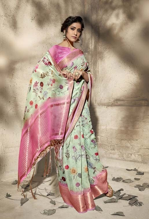 Demanding Light Pista Color Digital Printed Saree