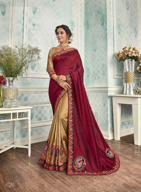 Flirty Maroon Color Patch Work Party Wear Indian Saree