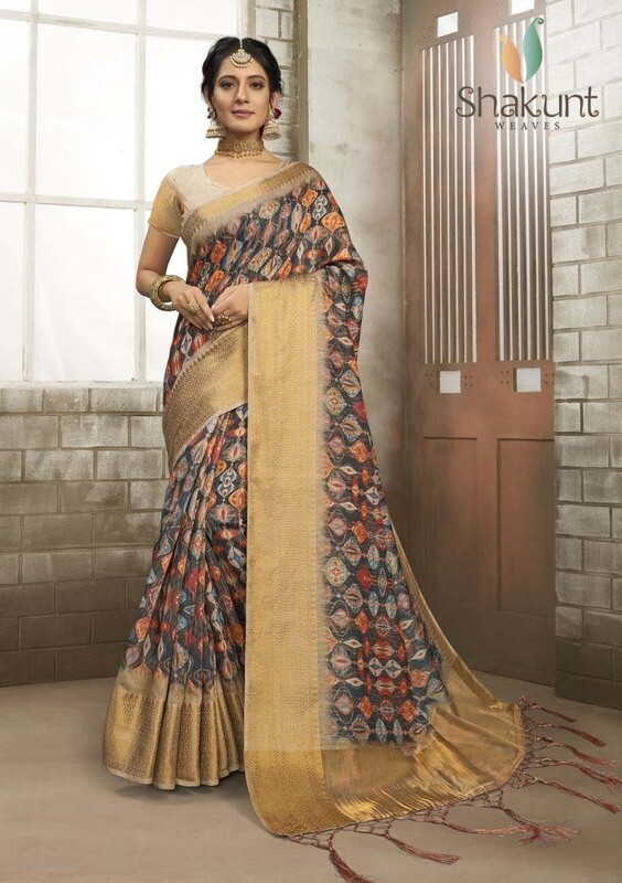 Blooming Multi Color Digital Print Art Silk Saree