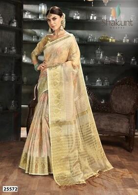 Adorable Pastel Yellow Color Digital Printed Indian Saree