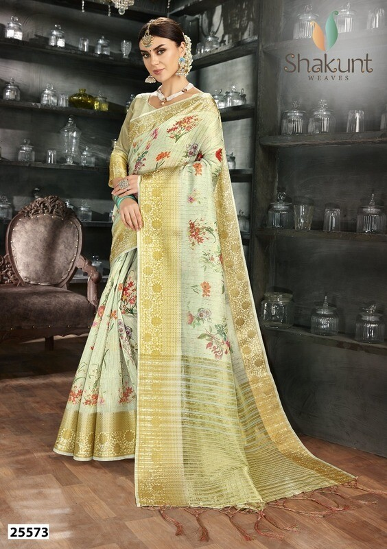 Mesmerising Pista Color Designer Indian Saree