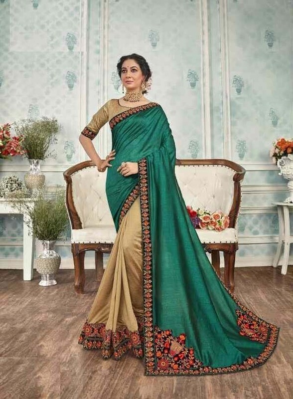 Outstanding Dark Green Color Party Wear Silk Saree