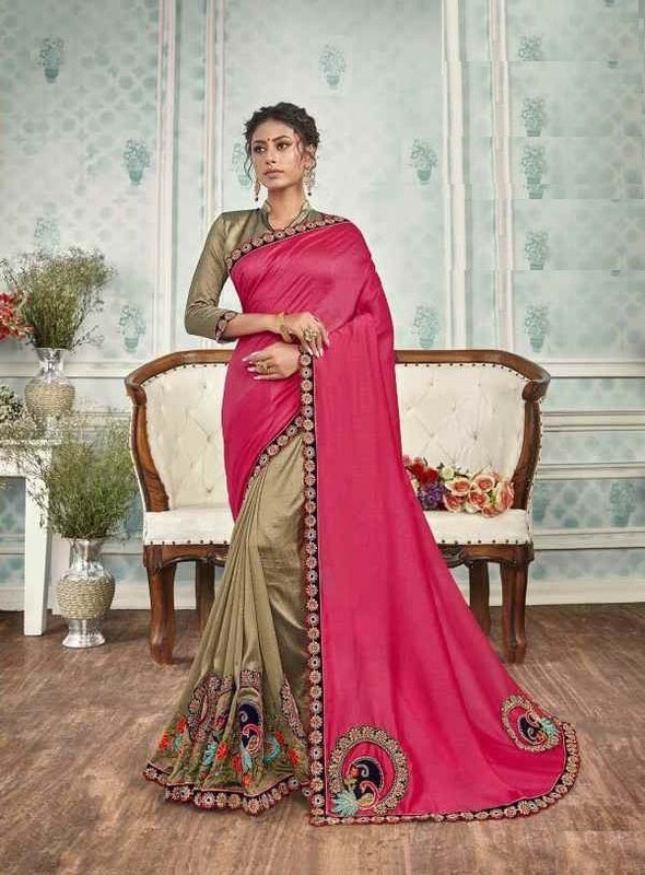 Preferable Pink Color Designer Silk Saree