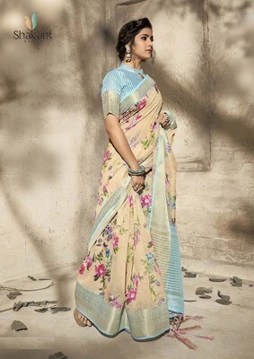 Pastel Cream Art Color Party Wear Indian Saree