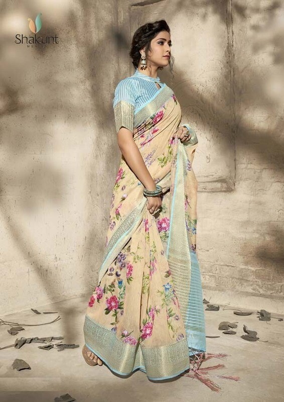 Pastel Cream Art Color Party Wear Indian Saree