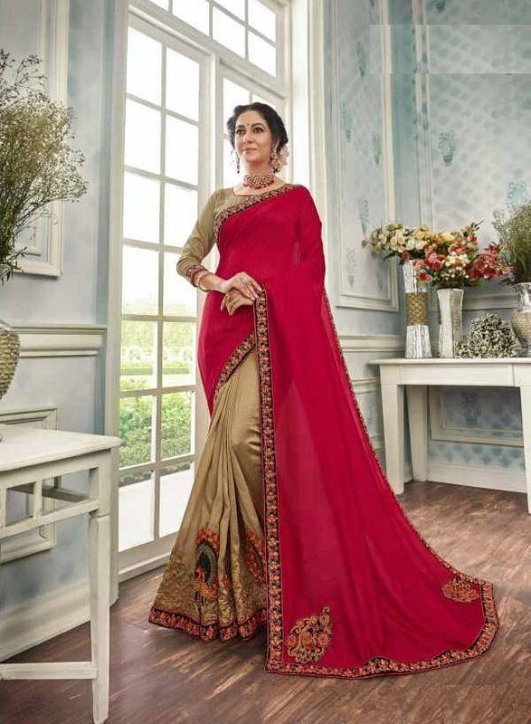 Unique Gold And Red Color Chanderi Silk Casual Wear Indian Saree