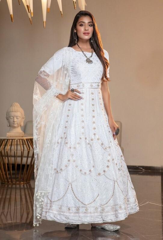 Designer Embroidered Diamond Georgette Anarkali Suit