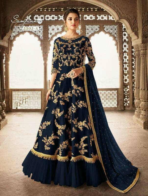 Butterfly Net Heavy Embroidered Codding Work Anarkali Suit