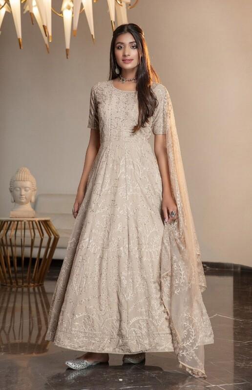 Beige Diamond Georgette Embroidered Anarkali Suit