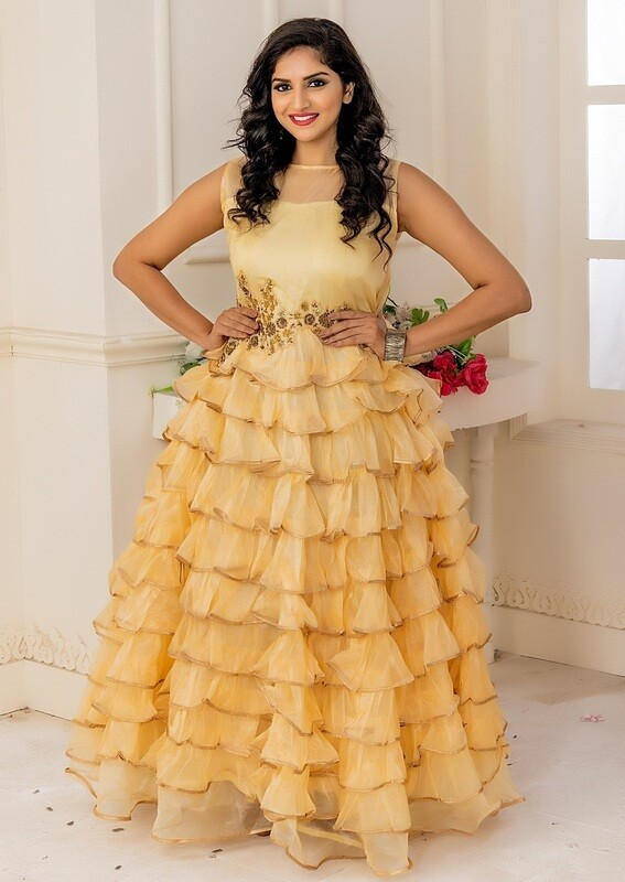 Champagne Soft Net Embroidered Anarkali Suit