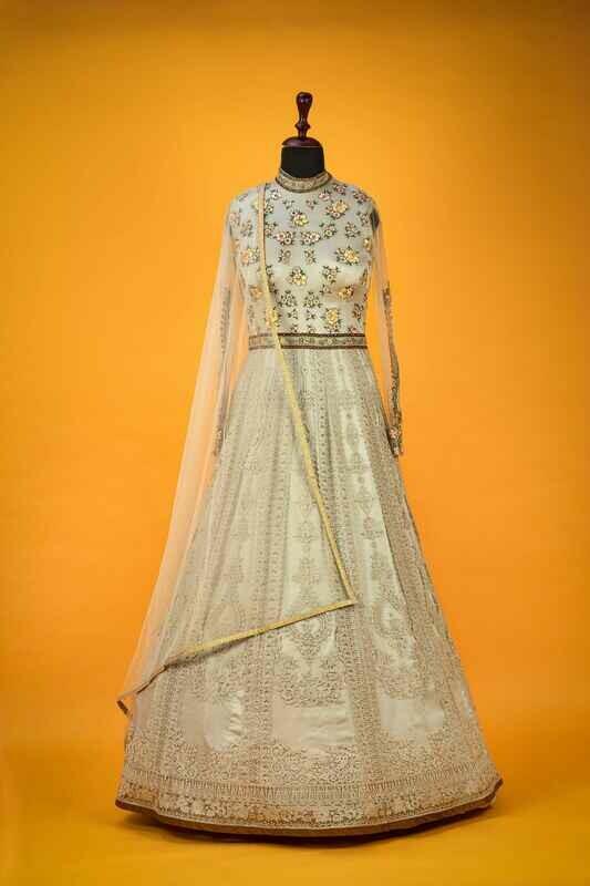 Beige Anarkali Style Net Indian Gown