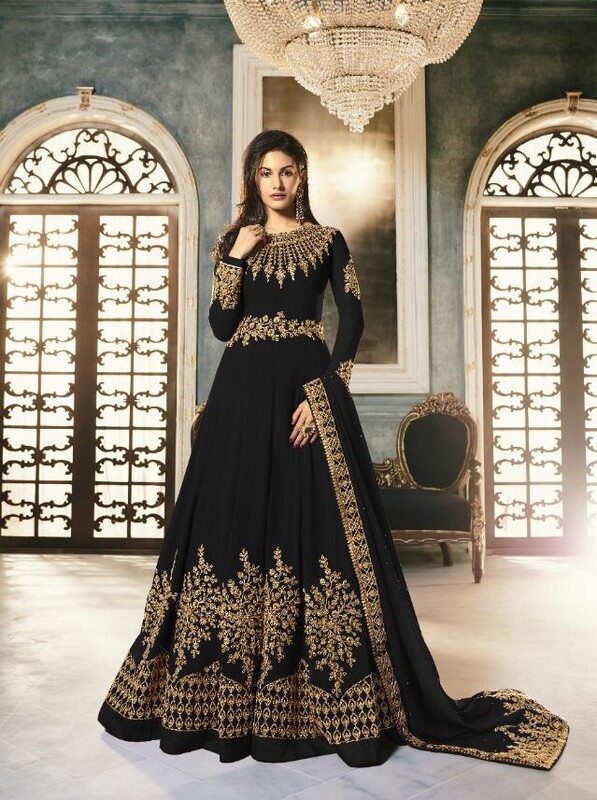 Georgette With Codding Embroidered Anarkali Suit In Black