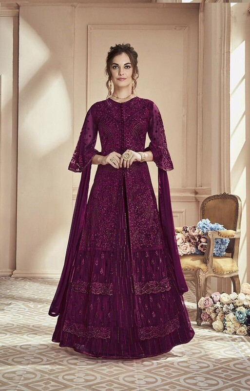 Heavy Beautiful Net Embroidered Anarkali Suit