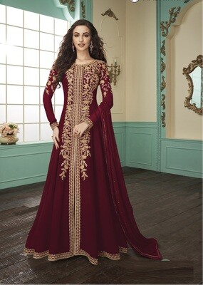 Heavy Faux Georgette Embroidered Anarkali Suit