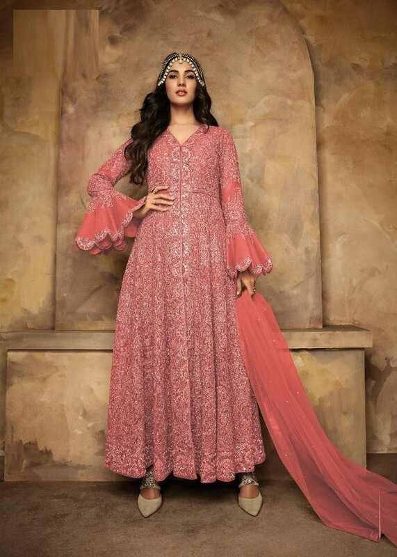 Heavy Net Embroidered Light Pink Anarkali Suit
