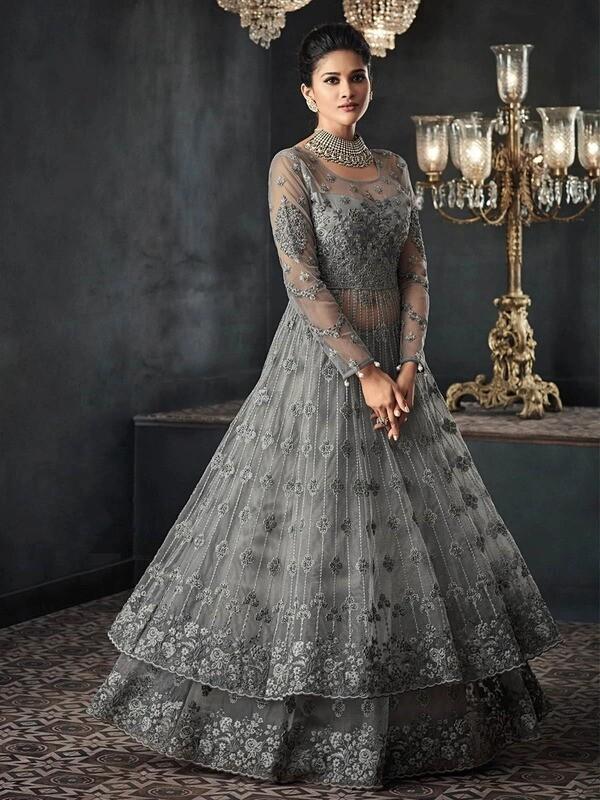 Heavy Net Embroidery Work Anarkali Suit In Grey