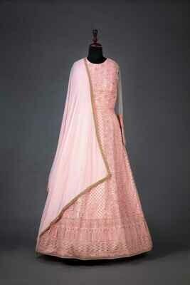 Light Pink Long Indian Georgette Anarkali Suit