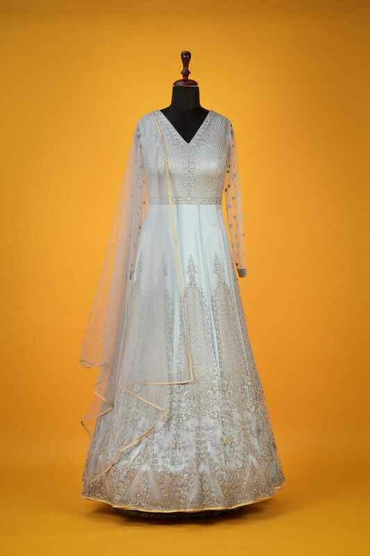 Light Sky Anarkali Style Indian Gown