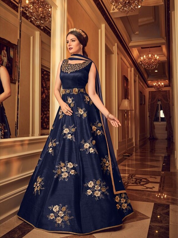 Navy Blue Color Embroidery Work Suit