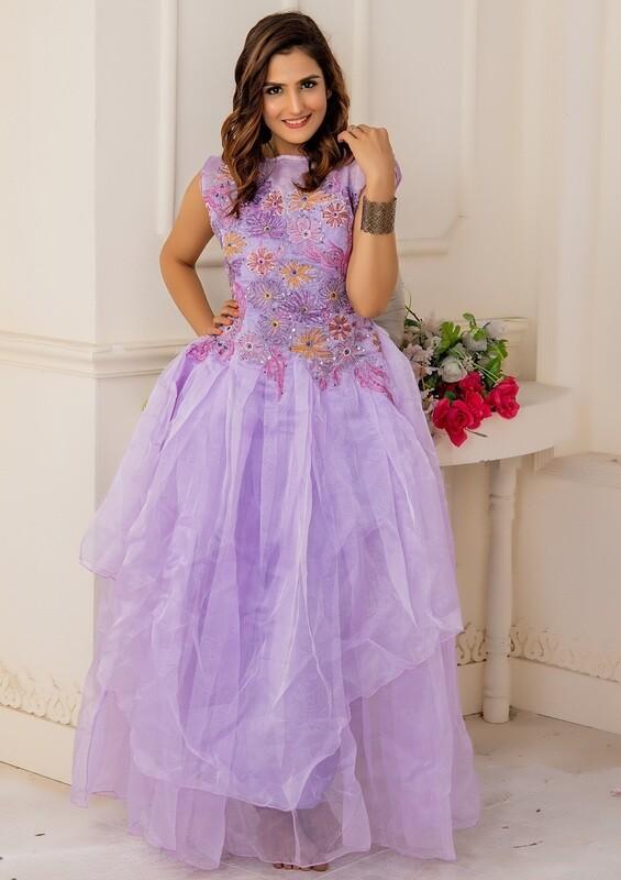 Party Wear Light Purple Color Soft Net Anarkali Suit