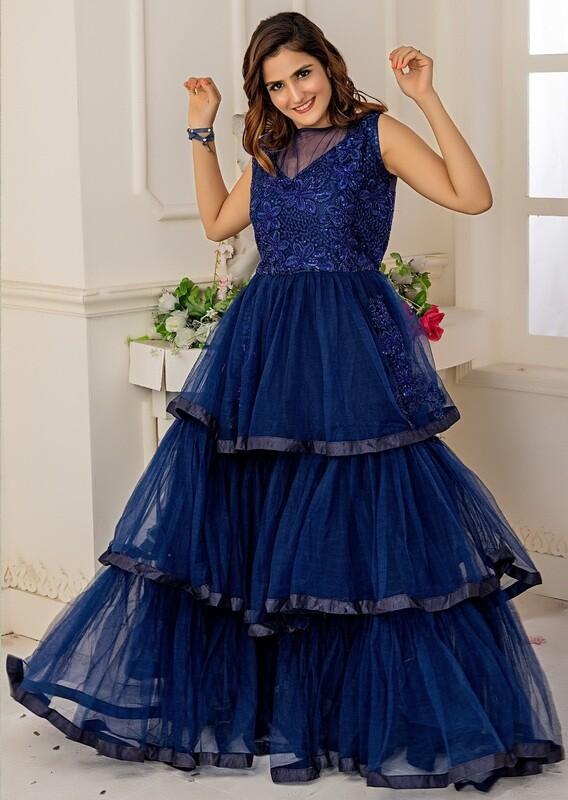 Soft Net Anarkali Suit In Navy Blue