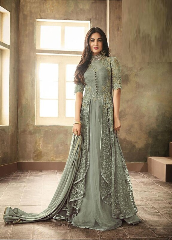 Teal Green Heavy Net Embroidered Anarkali Suit