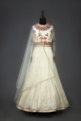 White Color Embroidered Indian Anarkali Suit