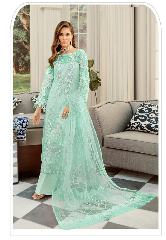 Designer Heavy Net With Embroidered Pakistani Suit
