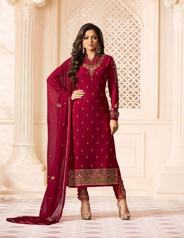 Heavy Embroidered Churidar Suit In Red