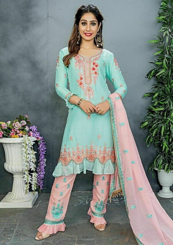 Mint Color Party Wear Embroidered Churidar