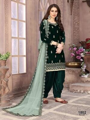 Green Party Wear Velvet Punjabi Suit