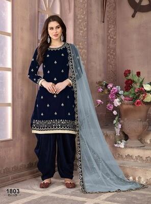 Velvet Punjabi suit In Navy Blue