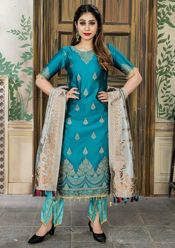 Party Wear Morpich Color Banasari Jacquard Palazzo Suit