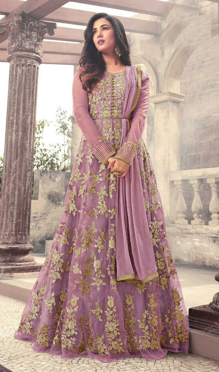 Sonal Chauhan Wear Purple Net Embroidered Long�Gown