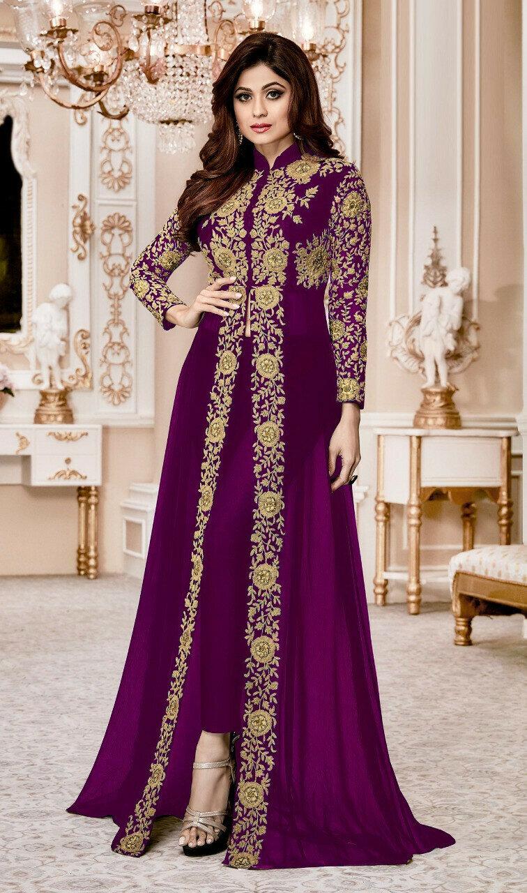 Shamita Shetty Wear Faux Georgette Purple Heavy Salwar Suit