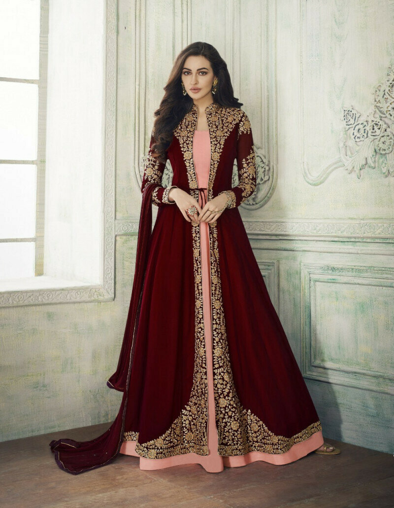 Exclusive Goergette Maroon Embroidered Anarkali Suit