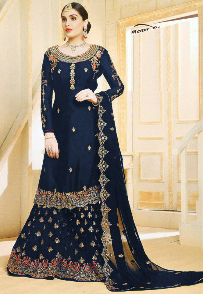 Flaunt Goergette Navy Blue Embroidery Work Sharara Suit