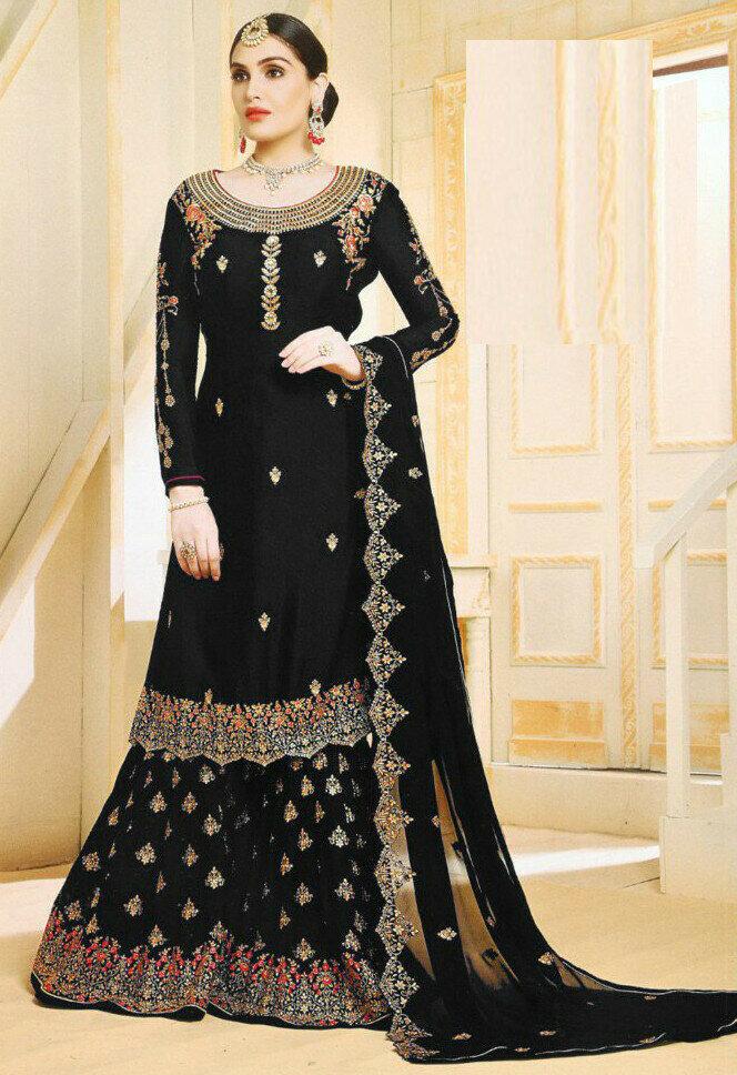 Flaunt Goergette Black Embroidery Work Sharara Suit