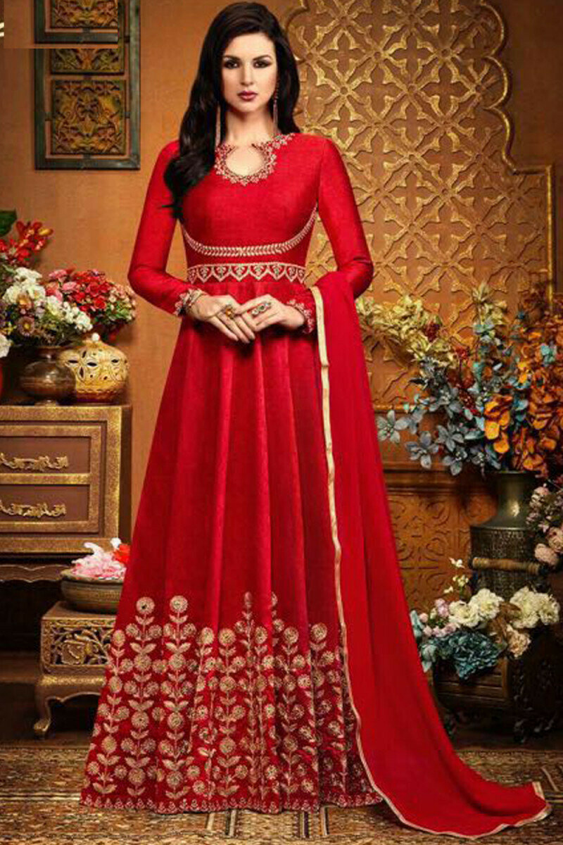 Heavy Banglory Silk Red Full Gown