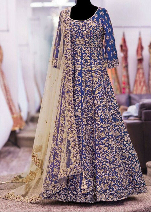 Delightful Banglory Silk Blue Heavy Full Embroidered Full Gown