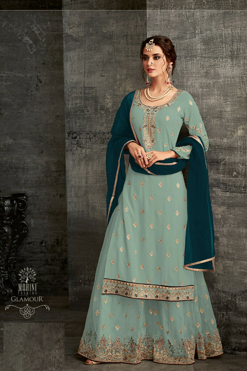 Admiring Net Embroidered Sky Blue Palazzo Suit