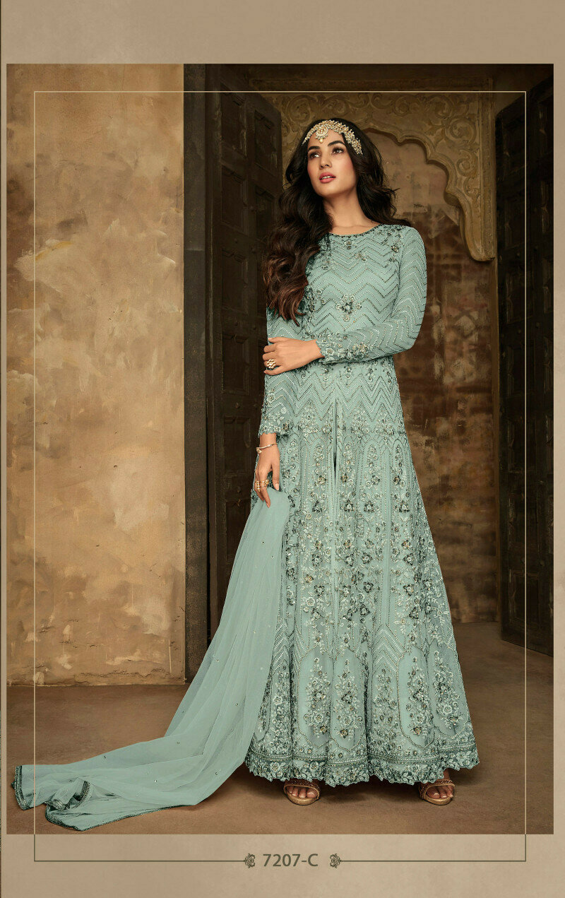 Amazing Sky Blue Net Embroidered Anarkali Suit