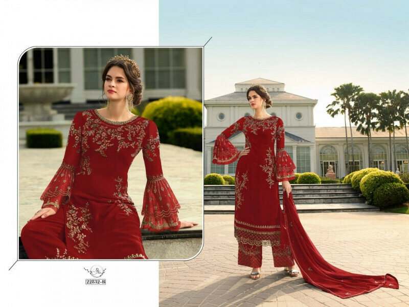 Desirable Heavy Faux Georgette Red Color Palazo Suit