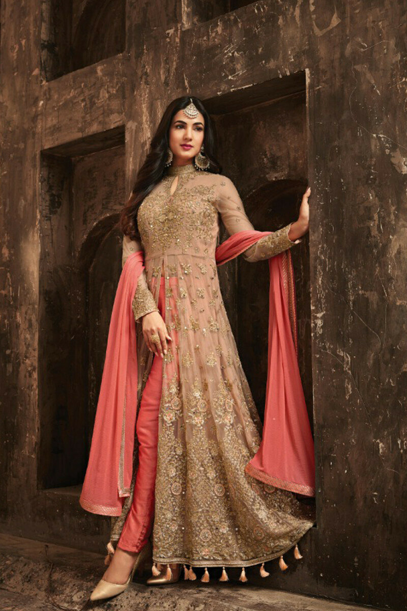 Gorgeous Sonal �Chauhan Wear Pink With Cream Net Fancy Suit