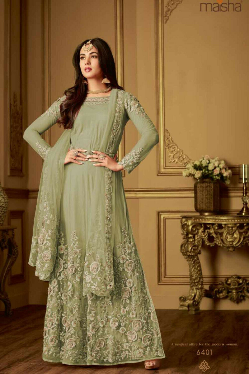 Impresive Sonal Chauhan Net Embroidery Green Gown